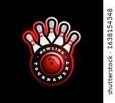 bowling circular vector logo.... | Shutterstock .eps vector #1638154348