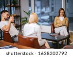 Small photo of couple, woman and man try to explain family situation to professional psychologist, married on brink of divorce, confident and credible lady psychologist listen and support, give right ways
