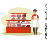 shop for meat products. counter.... | Shutterstock .eps vector #1638217648