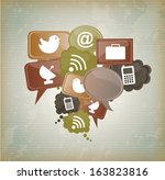 internet icons over vintage... | Shutterstock .eps vector #163823816