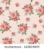 Stock vector seamless vintage flower pattern 163824845