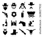 cowboy icons | Shutterstock .eps vector #163827932
