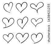 hand drawn heart icons  concept ... | Shutterstock .eps vector #1638421255