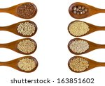 collection of grains in wooden... | Shutterstock . vector #163851602
