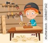 little cartoon carpenter... | Shutterstock .eps vector #1638607162