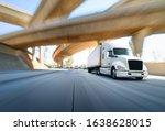 American style truck on freeway ...