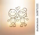 skaters couple hand drawn... | Shutterstock . vector #163871222