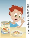 vector drawing of a kid eating... | Shutterstock .eps vector #163871282