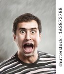 man screams opening the mouth ... | Shutterstock . vector #163872788