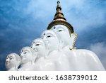 Close Up Five Buddha Statue At...