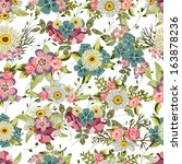 vintage seamless floral pattern | Shutterstock .eps vector #163878236