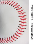 baseball ball macro on stitches ... | Shutterstock . vector #163884362