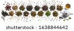 large assortment of tea on a... | Shutterstock . vector #1638844642