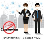 businessman and woman wearing...   Shutterstock .eps vector #1638857422