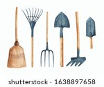 a set of hand drawn watercolor...   Shutterstock . vector #1638897658