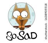 sad owl sitting alone at full...   Shutterstock .eps vector #1638905518