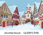 christmas town street at winter ... | Shutterstock .eps vector #163891598