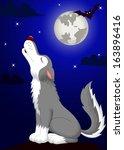 wolf cartoon howling | Shutterstock . vector #163896416