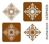 line thai art pattern vector... | Shutterstock .eps vector #163896836