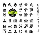 web icon set.  real estate ... | Shutterstock .eps vector #163900325