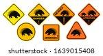 porcupine danger sign. isolated ... | Shutterstock .eps vector #1639015408