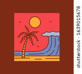 simple logo badge beach design... | Shutterstock .eps vector #1639015678