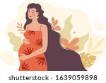 pregnant woman with a belly....   Shutterstock .eps vector #1639059898