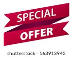 special offer red ribbon banner ... | Shutterstock .eps vector #163913942