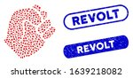 Mosaic fist and rubber stamp seals with Revolt caption. Mosaic vector fist is composed with randomized oval spots. Revolt stamp seals use blue color, and have round rectangle shape.