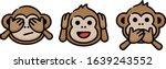 three wise monkeys doodle... | Shutterstock .eps vector #1639243552