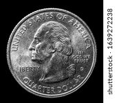 Small photo of Here is a silver quarter worth a quarter of a dollar in the United States.