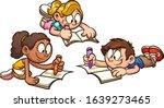 kids lying on the floor and... | Shutterstock .eps vector #1639273465