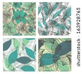 set of 4 seamless floral... | Shutterstock . vector #163928765