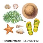 summer holiday illustrations.... | Shutterstock . vector #163930142