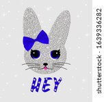 cute rabbit in sequins with bow.... | Shutterstock .eps vector #1639336282