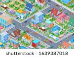 isometric smart city district... | Shutterstock .eps vector #1639387018