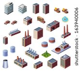 a set of industrial buildings... | Shutterstock .eps vector #163940006