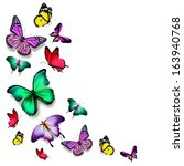 Stock photo many color different butterflies flying 163940768