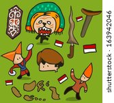 Indonesia culture set. hand drawn Vector illustration