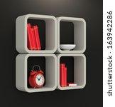 one modern bookshelf on a dark wall (3d render) - stock photo
