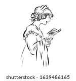 Woman In Retro Style Read A...