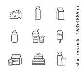 milk icon vector set. food and... | Shutterstock .eps vector #1639488955