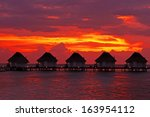 water villas  bungalows  on the ...   Shutterstock . vector #163954112
