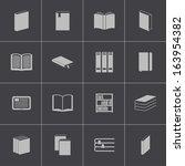 vector black  book  icons set | Shutterstock .eps vector #163954382