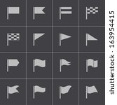 vector black flag icons set | Shutterstock .eps vector #163954415