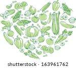 vegetables arranged in heart... | Shutterstock .eps vector #163961762