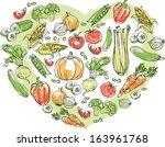 vegetables arranged in heart... | Shutterstock .eps vector #163961768
