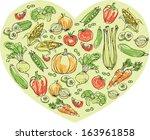 vegetables arranged in heart... | Shutterstock .eps vector #163961858