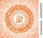business competition, podium icon inside abstract orange mosaic emblem