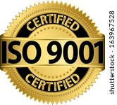 iso 9001 certified golden label ... | Shutterstock .eps vector #163967528